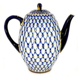 Lomonosov Porcelain 22 Karat Gold Cobalt Net Coffee Pot 8 Cu