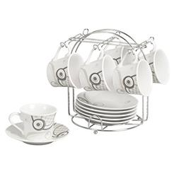 Lorren Home Trends 13-Piece Porcelain Espresso Cup Set with