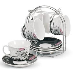 Lorren Home Trends 5-Piece Tea/Coffee Set, Black Rose Design