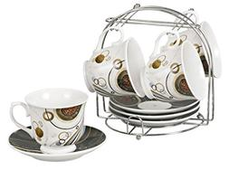 Lorren Home Trends 9-Piece Tea/Coffee Set with Iron Stand, C