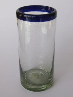 Mexican Blown Glass Tall Iced Tea Glasses Cobalt Blue Rim