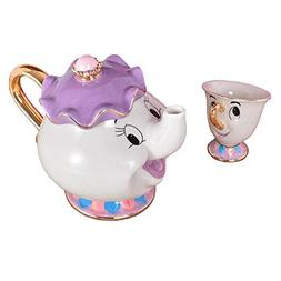 NEW Beauty and The Beast Mrs. Potts Chip Tea Pot & Cup set T