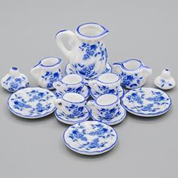 Odoria 1:12 Miniature 15PCS Blue Porcelain Tea Cup Set Blue