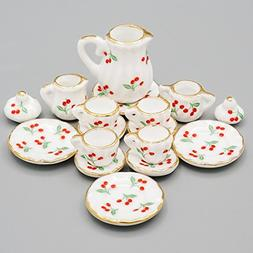 Odoria 1:12 Miniature 15PCS Porcelain Tea Cup Set Cherry Chi