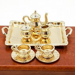 Odoria 1:12 Miniature 8PCS Vintage Golden Tea Cup Coffee Ser