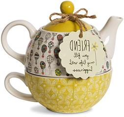 Pavilion Gift Company Friend Ceramic Teapot and Cup for One,