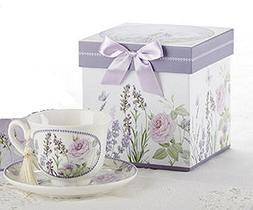 Porcelain Adult Tea Cup and Saucer, Lavendar & Rose Pattern,