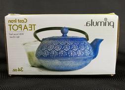 Primula Cast Iron Teapot   Blue Floral Design w/Stainless St