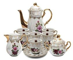 Royalty Porcelain 17pc Floral Tea Set, 24K Gold-Plated Origi