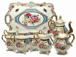Royalty Porcelain 10-Piece Vintage Floral Dining Tea Cup SET
