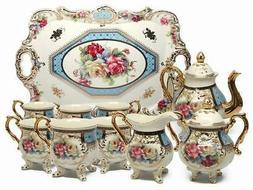 Royalty Porcelain 10-Piece Vintage Floral Dining Tea Cup SET