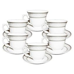 Set of 12 Silver Wreath Design Porcelain Tea Cup Saucer Set