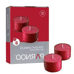 Set of 36 Red Tealight Candles with Clear Cup Burn 8 Hour, U