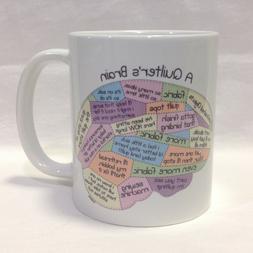 A QUILTERS BRAIN COFFEE TEA MUG CUP PORCELAIN NEW FREE SHIPP