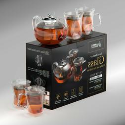 A Unique Tea Set For Adults Pot W 4 Glass Cups Teapot Kettle