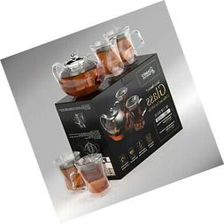 A Unique Tea Set For Adults,tea Pot Set, With 4 Glass Cups,