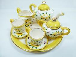 A very special Ceramic Miniature Tea Set, yellow roses - 10