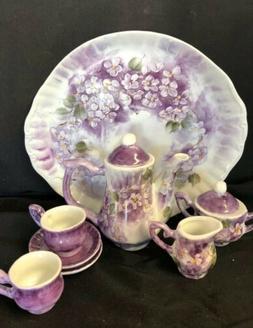 Adorable Doll/Child Porcelain 10 Piece Tea Set Lavender Flow