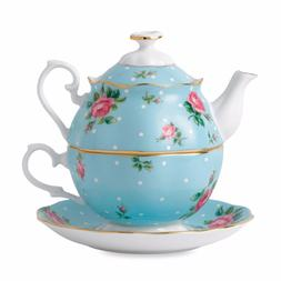 Royal Albert China Polka Blue 3 Pc Teaset - Teapot, Sugar, C
