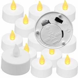 AMBER Tea Light - 12 Pack - Battery operated Tealight Candle