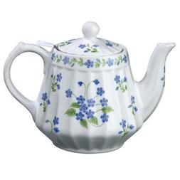 "Andrea By Sadek 6""h Blue Forget Me Not Teapot with Mesh Stra"