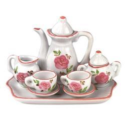 "Andrea by Sadek 3"" H Mini 9 Piece Doll Tea Set Pink Flowers"