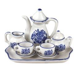 "Andrea by Sadek 3"" H Mini 9 Piece Doll Tea Set Blue & White"