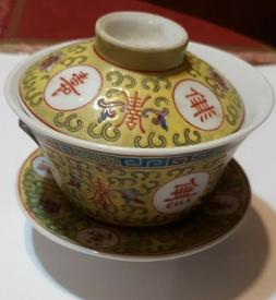 antique porcelain gaiwan Mun Shou longevity flower tureen Ch