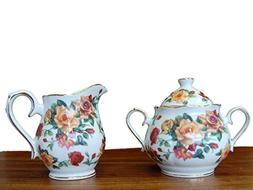 Antique Rose Pattern Fine China Porcelain Sugar & Creamer Se