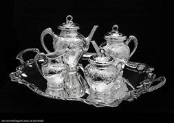 Original Antique Art Nouveau Silver Plated Tea Set with Serv