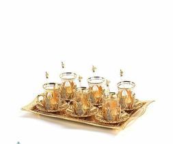 Arabic Tea Serving Set of 6 Swarovski Coated Handmade gift s