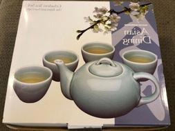 Asian Dining Tea Set Celadon Boston Warehouse Teapot 4 Cups