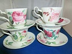 ASSORTED MISMATCH ROSE  SET of 4 TEA CUP SAUCERS KIRKHAM BON