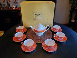 Auratic 14 Piece, Orange Floral Bone China Tea Set - New
