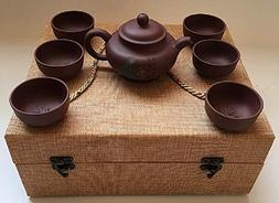 Authentic Chinese Yixing Zisha  Teapot Set  in a Beautiful C