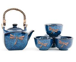 Authentic Imported Japanese Blue Dragonfly Tombo Pottery Tea