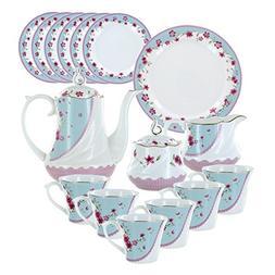 Azure Florets Deluxe Porcelain Tea Set