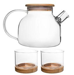 Bamboo Tea Set for 2 People – 33-Ounce Clear Glass Teapot/