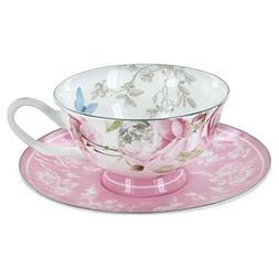 English Tea Store Beau Rose Bone China - Cup and Saucer - Se