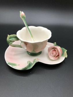 Beautiful Pink Rose 3 Piece Tea Set, Tea Cup, Saucer, & Stir