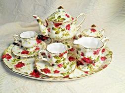 Beautiful Rose Floral Tea Set w/ Tray,Teapot,Sugar,Creamer,2