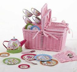 "Delton Products Bird Tin Tea Set with Basket , 4"""