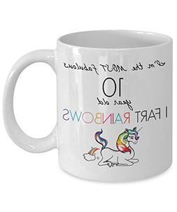10th Birthday Mug - Unicorn I'm Most Fabulous Fart Rainbow