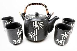 "6"" Black Bamboo Japanese Ceramic Tetsubin Teapot & Teacups I"