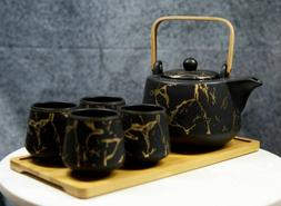 Black Faux Marble With Gold Veins Ceramic Tea Pot And Cups W