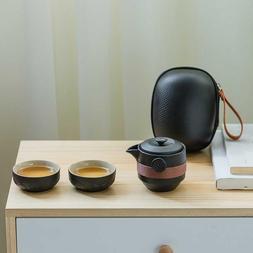 Black Pottery One Pot Two <font><b>Cups</b></font> <font><b>