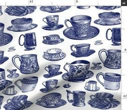 Blue And White China Blue And White Tea Set Fabric Printed b