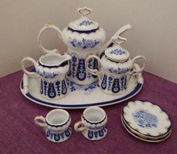 Blue & White Tea Set Porcelain Retired Collectible Miniature