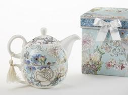 Delton Products Blue Camellia Pattern Porcelain Tea for One