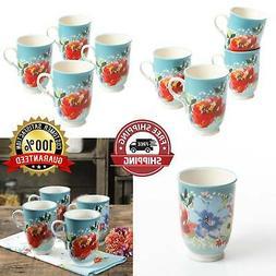 Blue Floral White Dots 18oz Cups Mugs Set of 4 Tea Vintage C
